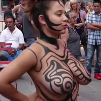 Bodypainted in public