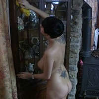Kim cleaning naked
